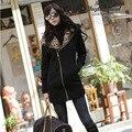 Mulheres da moda Casaco de Inverno Outono 2016 Manga Comprida Leopard Casual Com Capuz Zipper Moletons Senhoras Outwear Jaqueta casaco feminino