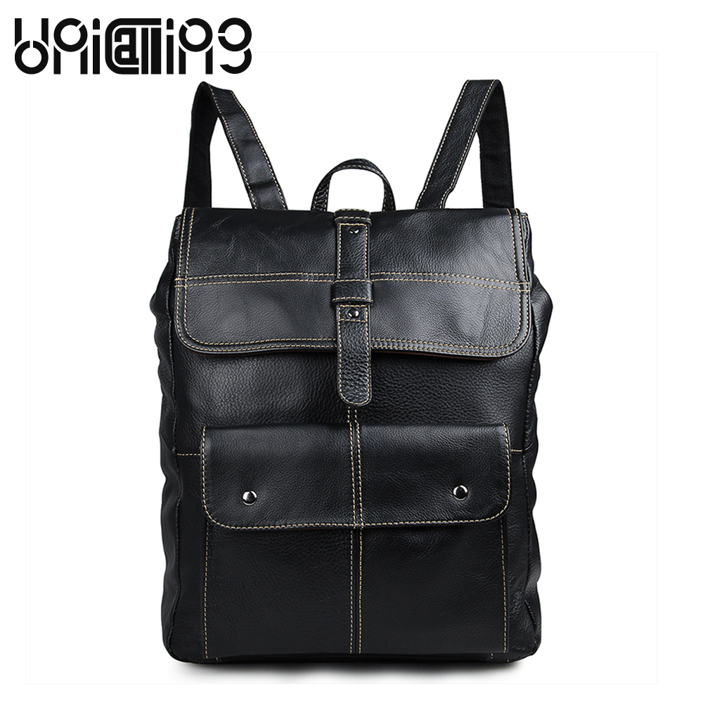 UniCalling Genuine Leather backpack large capacity men laptop backpack hasp cow leather backpack men Fashion rivet backpack цены