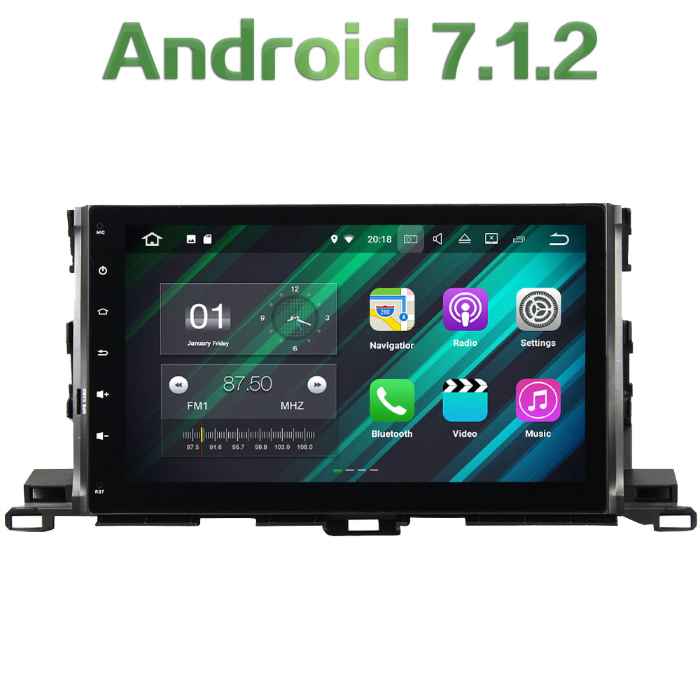 Android 7.1.2 Quad Core 2 Din 10.1 2GB RAM 16GB ROM Car Radio Stereo Car multimedia Player Bluetoot for Toyota Highlander 2015
