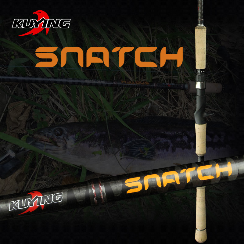 KUYING SNATCH 2.1m 2.28m SuperHard XH Carbon Casting Lure Fishing Rod Pole Fish Stick Fast 185g Weight 2 Sections For Snakehead casting lure rod mh power 2 section 2 28 2 4m carbon fishing snakehead super strong fish pole
