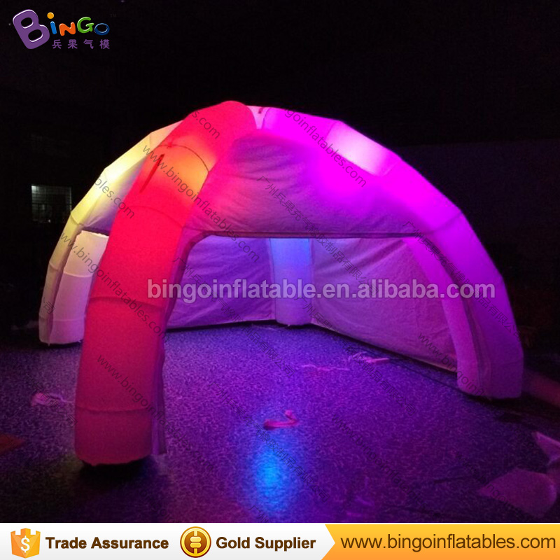 Free shipping LED lighting 5x5 M inflatable marquee tent with 4 legs for outdoor event high quality advertising tent toy tent factory direct sale 6x6x3 5 m inflatable dome igloo tent for outdoor event high quality blow up all white yurt tent toy tent