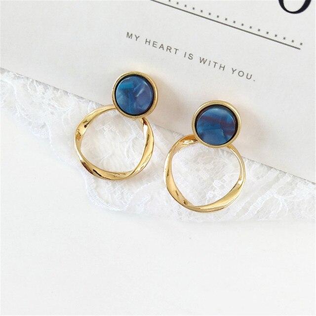 Qualidade da moda torção anel de resina Brinco Brincos requintados meninas, retro brincos de metal, brincos, jóias por atacado