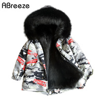 2019 New camouflage style little child trench girls 2 11Y faux outerwear & coats for girls fashion warm children fur clothes