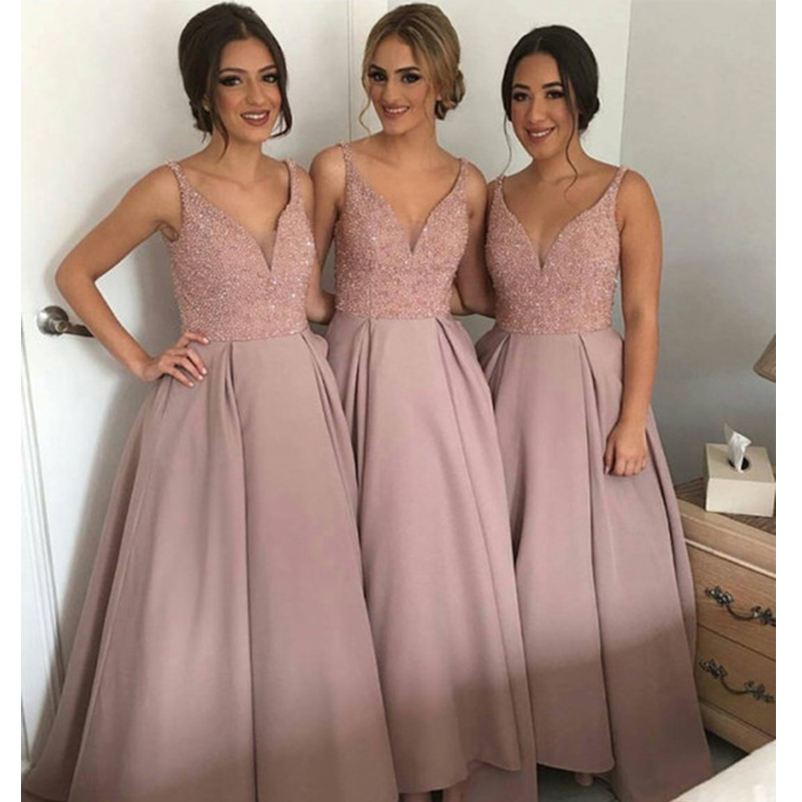 Sparkling Blush Pink   Bridesmaid     Dresses   V Neck Sleeveless High-Low Heavy Beaded Junior Long Dusty Maid Of Honor Ball Gown 2019