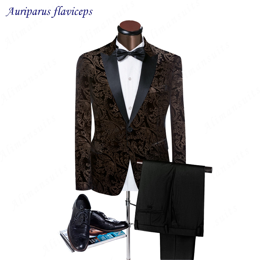 2018 High Quality Black Peaked Lapel Man Suits Pattern ...