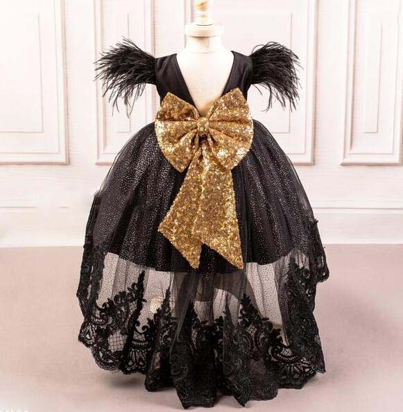 Black hi lo ostrich fur princess birthday party dress girl pageant gown for prom evening celebration with golden sequins bow 12pcs hair accessories mickey minnie mouse ears solid black sequins headbands headwear for boy girl birthday party celebration
