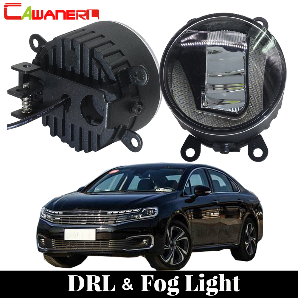 Cawanerl 2 Pieces Car LED Fog Light Daytime Running Lamp DRL White 12V Styling High Bright For Citroen C6 TD_ Saloon 2005-2015 for renault megane 2 saloon lm0 lm1 2003 2015 car styling 6000k white 10w ccc high power led fog lamps drl lights