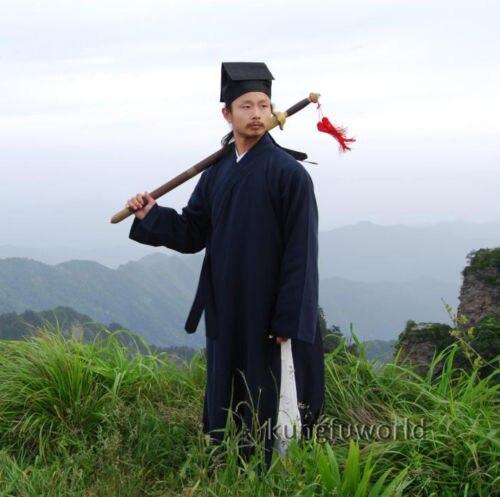 25 цветов льняной Wudang Taoist Shaolin Monk длинный халат Wushu Кунг фу Тай Чи форма для боевых искусств крыло костюм для вин-Чунь