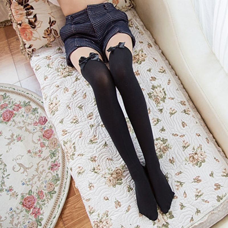 Gorgeous Heart Bow  Design Hold Up Stocking Over Knee Long Socks 6 colours