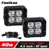 FASTKAS 2X 40W LED Work Light Bar for Truck Motorcycle ATV CREE Chip LED Offroad Light Bar 4X4 Fog Light LED Drive Light