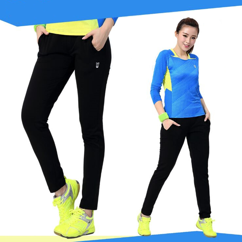 Girls Tennis Pants , Women Professional Badminton Trousers , Female Table Tennis Black Long Pant , Girl Outdoor Sport Trousers
