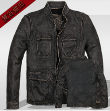 Genuine Leather ! men stand-up collar slim motorcycle jacket thicker first layer cowhide washing do the old short  jacket  M-3XL