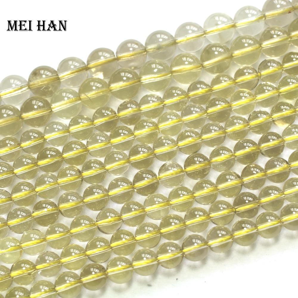 Edler Schmuck Kenntnisreich Freies Verschiffen 8mm & 10mm Natürliche Gelbe Zitrone Quarz Glatte Runde Klar Kristall Perle Für Schmuck Machen Design Perlen