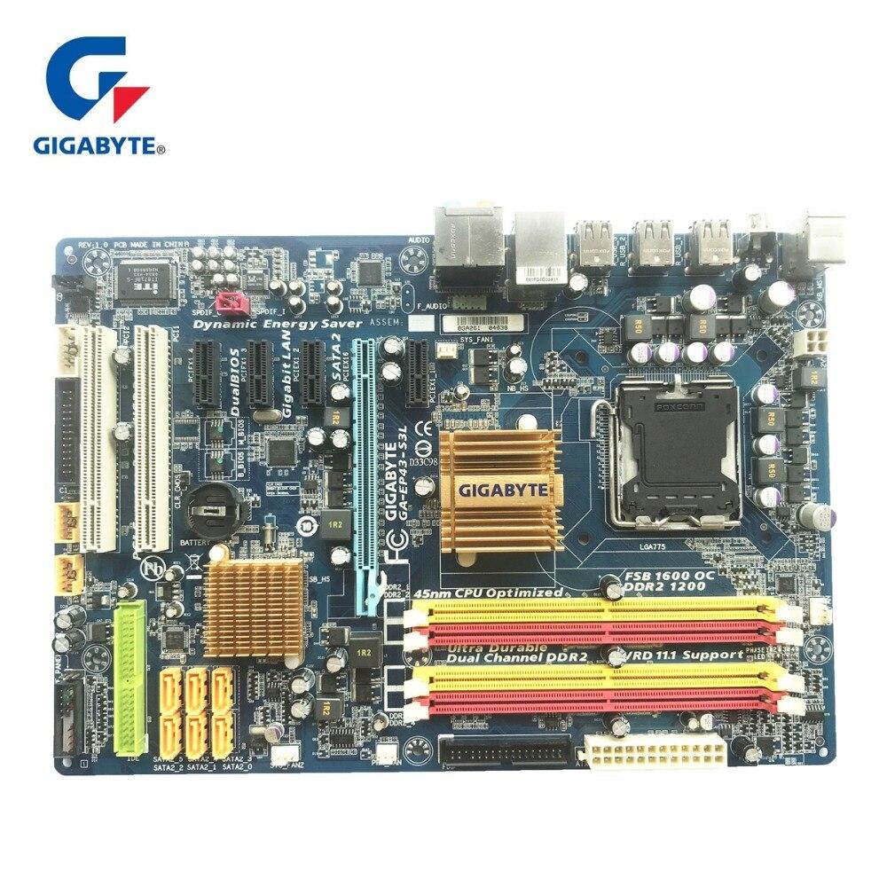 Gigabyte GA-EP43-S3L 100% D'origine Carte Mère LGA 775 DDR2 Ordinateur De Bureau Carte Mère 16 gb EP43-DS3L UD3L Planches Utilisées Pour P43
