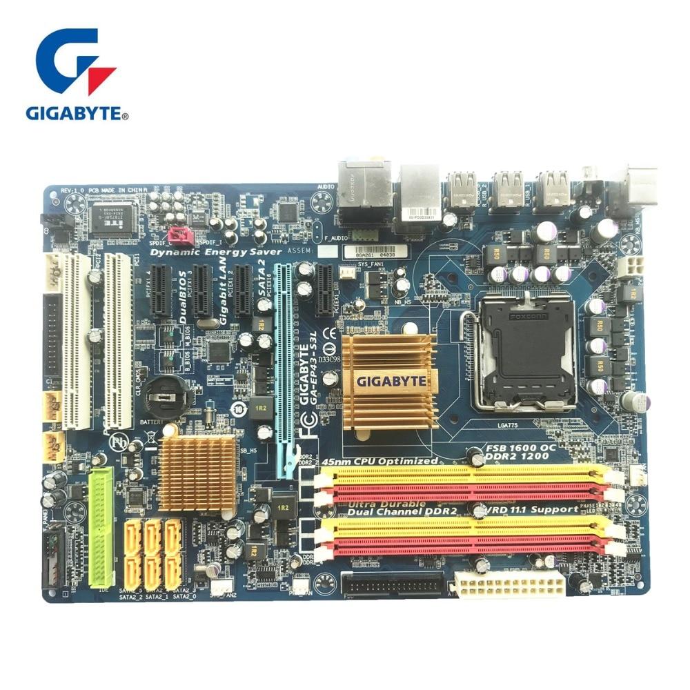 Gigabyte ga-ep43-s3l 100% Оригинал материнская плата LGA 775 DDR2 настольный компьютер плата 16 ГБ EP43-DS3L UD3L используется Панели для P43