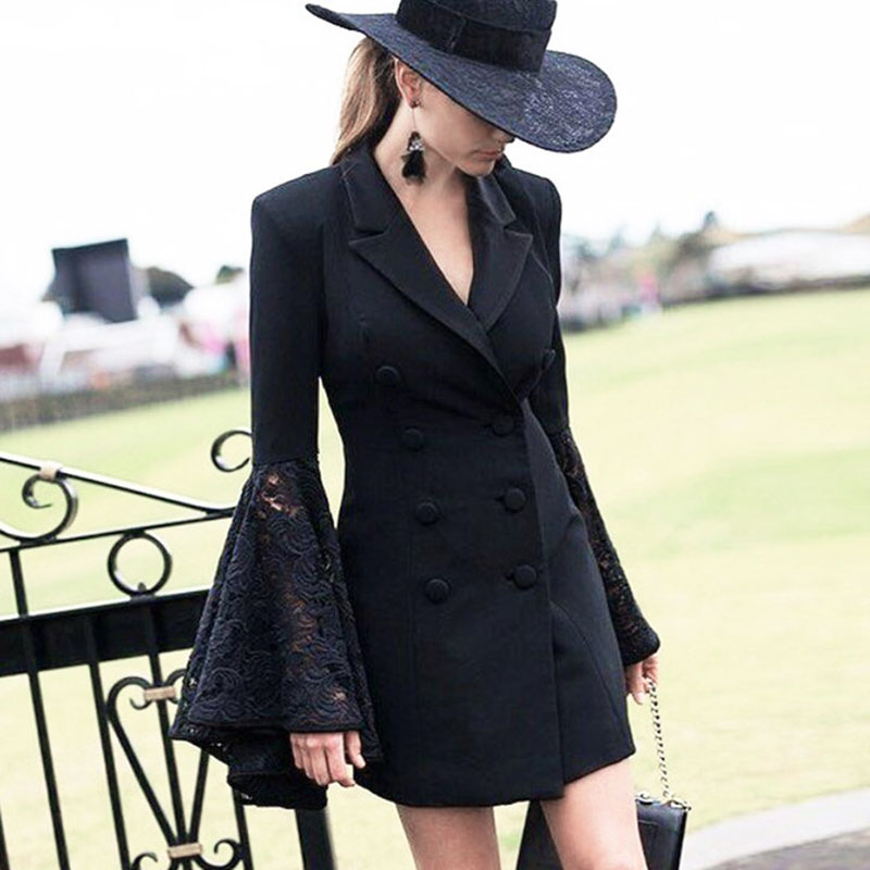 Women Gothic Coats Winter Autumn Long Flare Lace Sleeve Slim Outerwear Button Patchwork Fashion Chic OL