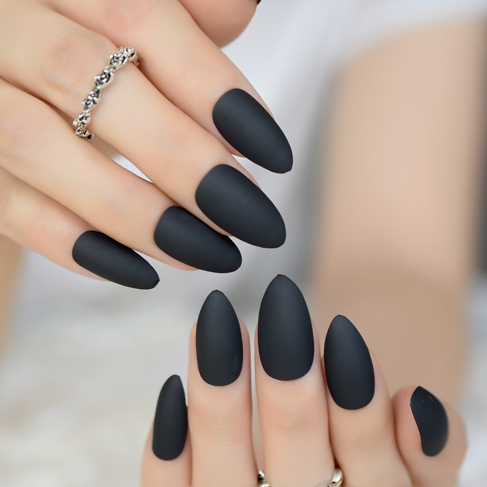 24pcs stiletto matte nails dark