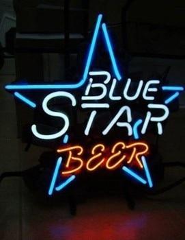 Custom Blue Star Beer Neon Light Sign Beer Bar