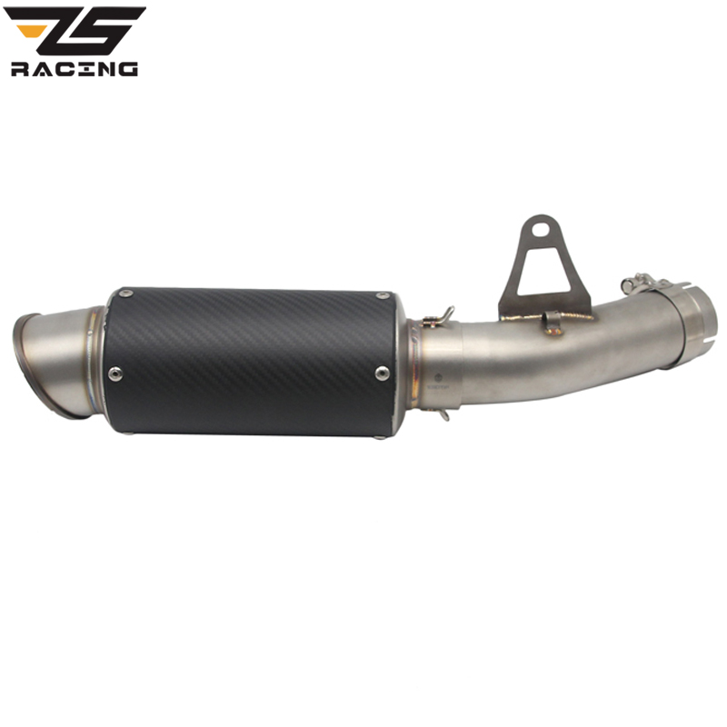 цена ZS Racing Motorcycle 61mm SC Exhaust +Middle Pipe For BMW S1000RR 2010-2016 Link Pipe Stainless Steel Exhaust Muffler Silence онлайн в 2017 году