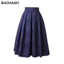 BACHASH/Зимняя юбка в винтажном стиле; Очаровательная Женская Черная, красная, белая жаккардовая плиссированная юбка средней длины; офисная юбка-пачка; элегантная женская короткая юбка