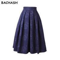 BACHASH וינטג 'חצאית החורף קסם ליידי אקארד שחור אדום לבן קפלים Midi סקטים חצאיות טוטו חצאית משרד נשים אלגנטיות