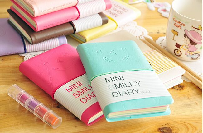 7.5*12.5cm Cute mini smiling face leather Planner notebook journal Diary/ pocket Notepad/Memo pads material escolar papelaria