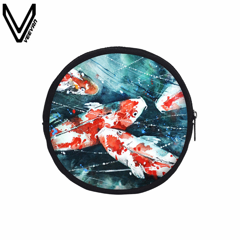 VEEVANV Fashion Coin Purse Colorful Fish Printing Wallets Women Mini Canvas Clutch Purse Key Storage Pounch Girls Organizer Bags ...