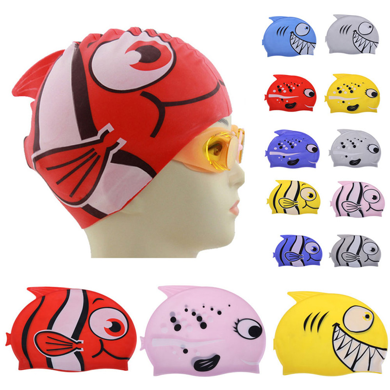 2018 New Childrens Swimming Cap Cartoon Fish Silicon Waterproof Protect Ear Shark Shape Swim Pool Hat Children Caps 22*18cm