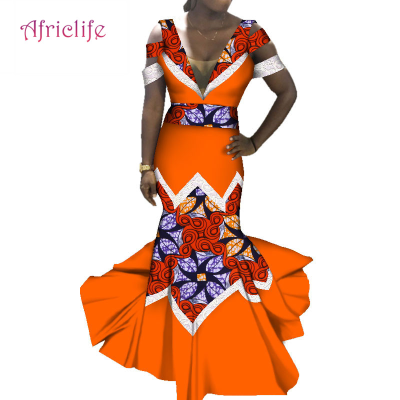 Sexy African Print Clothing For Women Sexy Deep V-neck Tube Top Fishtail Skirt Cotton Maxi Dress Lace Decoration Clothing WY3559