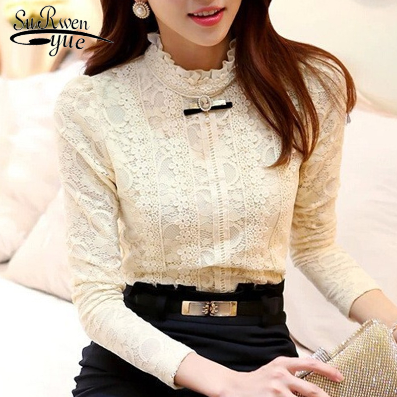 New 2018 High Quality Women Fashion Lace   Blouse     Shirts   Autumn and Winter Plus Thick Velvet Warm Bottoming   Shirt   Blusas 999 20