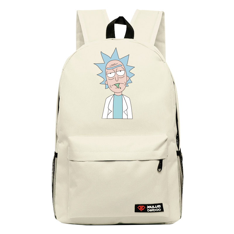 все цены на High-Q cartoon Rick and Morty 2017 New Arrival Backpack students Couple Printing candy color leisure bags онлайн