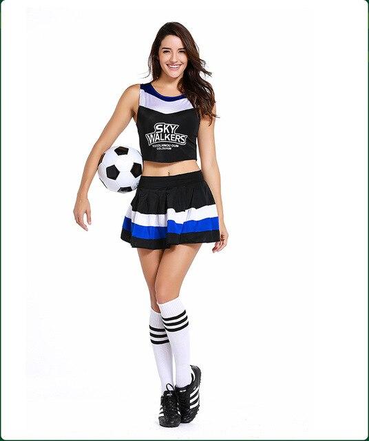 07c9a9e86434a Ropa de fútbol Cheerleader traje para niñas falda danza de vestido femenino  Cheerleading uniforme