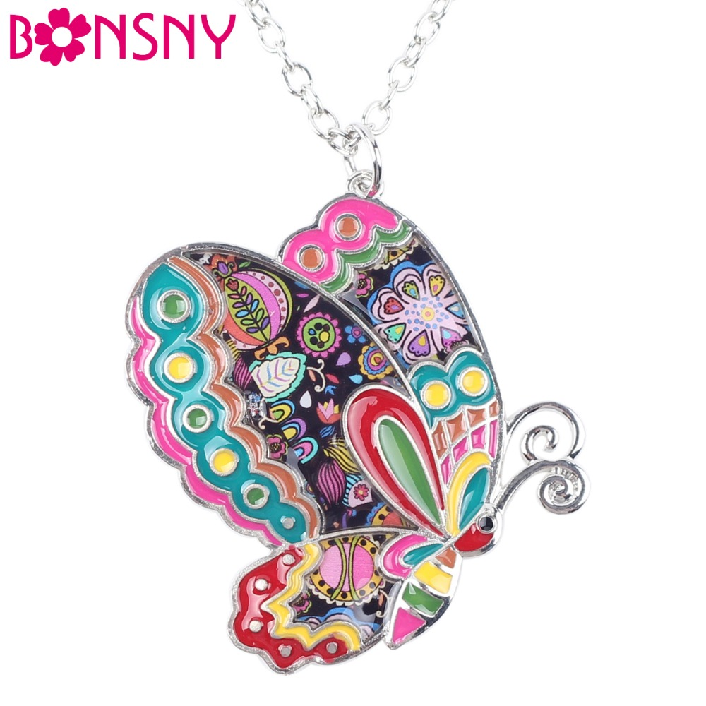 Bonsny Maxi Statement Metal Alloy Enamel Smycken Butterfly Halsband Choker Collar Pendant 2016 Fashion New For Women