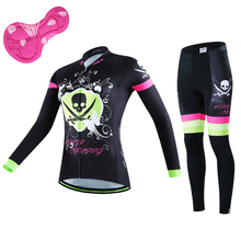 NEW Brand Autumn Women Cycling Jersey Set Polyester Long Sleeve MTB Bicycle Bike Windproof Jacket Pants Sets