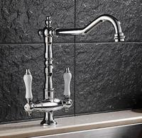 Free Shipping Kitchen Faucet Chrome Sink Faucet Brass Swivel Ceramic Dual Handle Kitchen Faucet Bathroom Basin