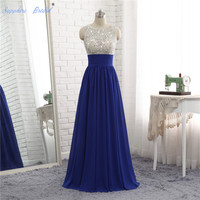 Sapphire Bridal 2018 Luxury Long A-line Evening Dresses Sexy Beaded Vestido De Festa CheapRoyal Blue Prom Party Gown Back Hole