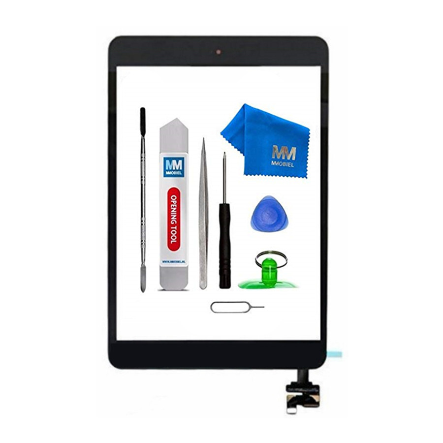 For IPAD Mini 1/2 white/black Digitizer Touch Screen Front Display Glass Assembly - Includes Home Button and flex + Came holder netcosy black white touchscreen for ipad 2 touch glass screen digitizer home button assembly for ipad 2 touch panel