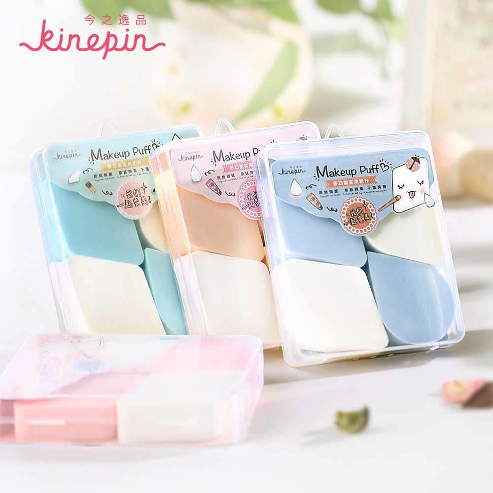 KINEPIN 4 pcs Professional Studio Cosmeitc Esponja Fundação Sopro de Pó de Maquiagem Esponja Blender Portátil com Clear Case Holder