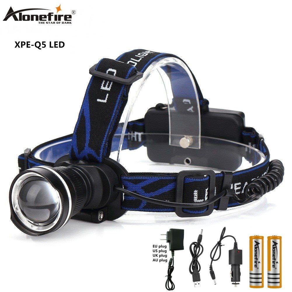 AloneFire HP87 Headlamp Cree XML Xpe Q5 LED Zoom Headlamp Fishing Headlight Hike Head Light 18650 Rechargeable Battery