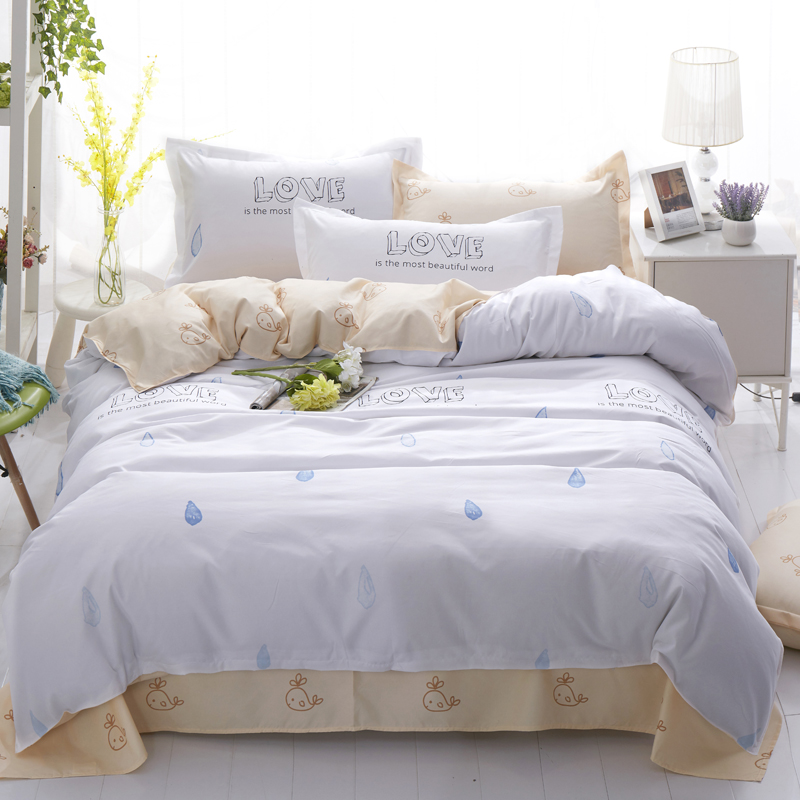 Fashion Style Bedding Set Cute Flower Pattern Bed Linen 3/4pcs Bedclothes Include Duvet Cover Bed Sheet Pillowcase Home Textiles