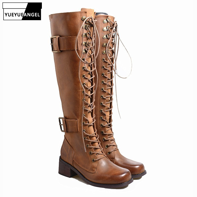 100% Real Leather Over The Knee Boots Women Vintage Brown Belt Buckle Lace Up Thigh High Boots Luxury Square Toe Punk Long Botas100% Real Leather Over The Knee Boots Women Vintage Brown Belt Buckle Lace Up Thigh High Boots Luxury Square Toe Punk Long Botas