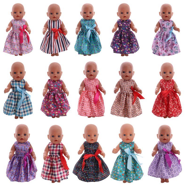 Doll Clothes 15 Styles Casual Dress With Bow Tie Fit 18 Inch American Doll & 43 CM New Born Baby Zaps Clothes Accessories Toy