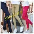 Moda coreano calça casual new outono de algodão mulheres leggings Lápis calças de senhora calcinha Zipper Slim Calças Skinny Capris W00302