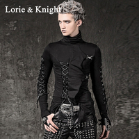 Men's Punk Rock Irregular Hem Black T Shirt Elastic Turtleneck Lace up Long Sleeve Hip Hop Tees Tops