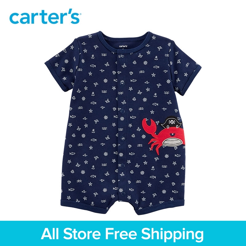 1-Pièce de Carter bébé enfants enfants vêtements Garçon D'été Crabe Snap-Up Coton Barboteuse 118H913