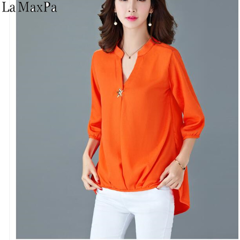 3783c1722bfa2 LA MAXPA 5XL mode coréenne 2019 nouveau printemps été Blusas grande taille  dames col en V en mousseline de soie chemises OL Style femmes en mousseline  de ...