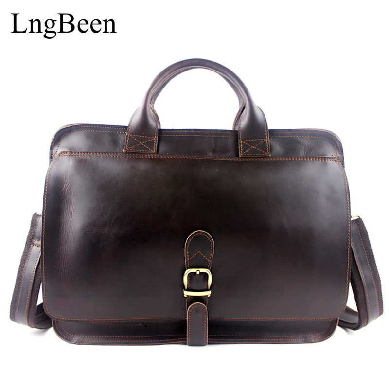 Genuine Leather Coffee Men Briefcase Laptop Business Bag Cowhide Men's Messenger Bags Crazy Horse Luxury Lawyer Handbags LB8098 2017 fashion genuine leather men briefcase cowhide men s messenger bags 15 6 laptop business bag luxury lawyer handbags li 1832