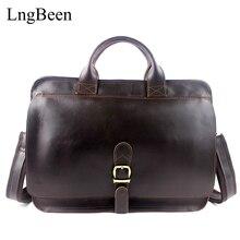 Genuine Leather Coffee Men Briefcase Laptop Business Bag Cowhide Men's Messenger Bags Crazy Horse Luxury Lawyer Handbags LB8098