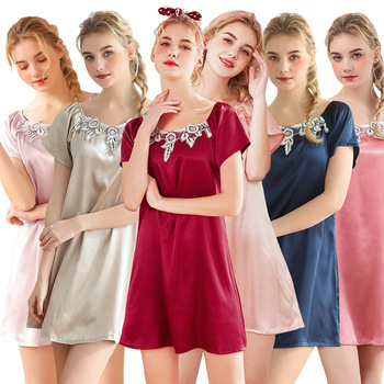 Sexy Silk Nightgown Satin Women Sleepwear Sexy Lingerie Femme Night Gown Women Short Sleeve Lace Embroidery Nightdress Nightwear