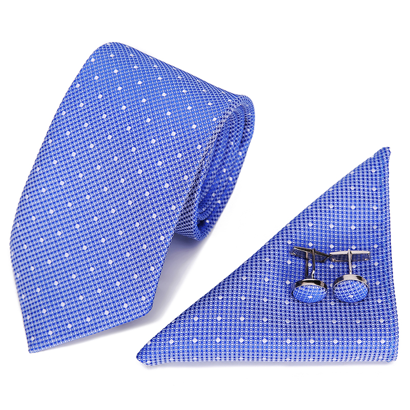 Vangise Tie Sets Mens Slim Tie Dot Floral Ties Hanky Cufflink 7.5cm Blue Necktie Pocket Square Ties For Men Wedding Party